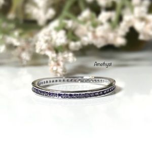 Amethyst CZ Stackable Sterling Silver Ring